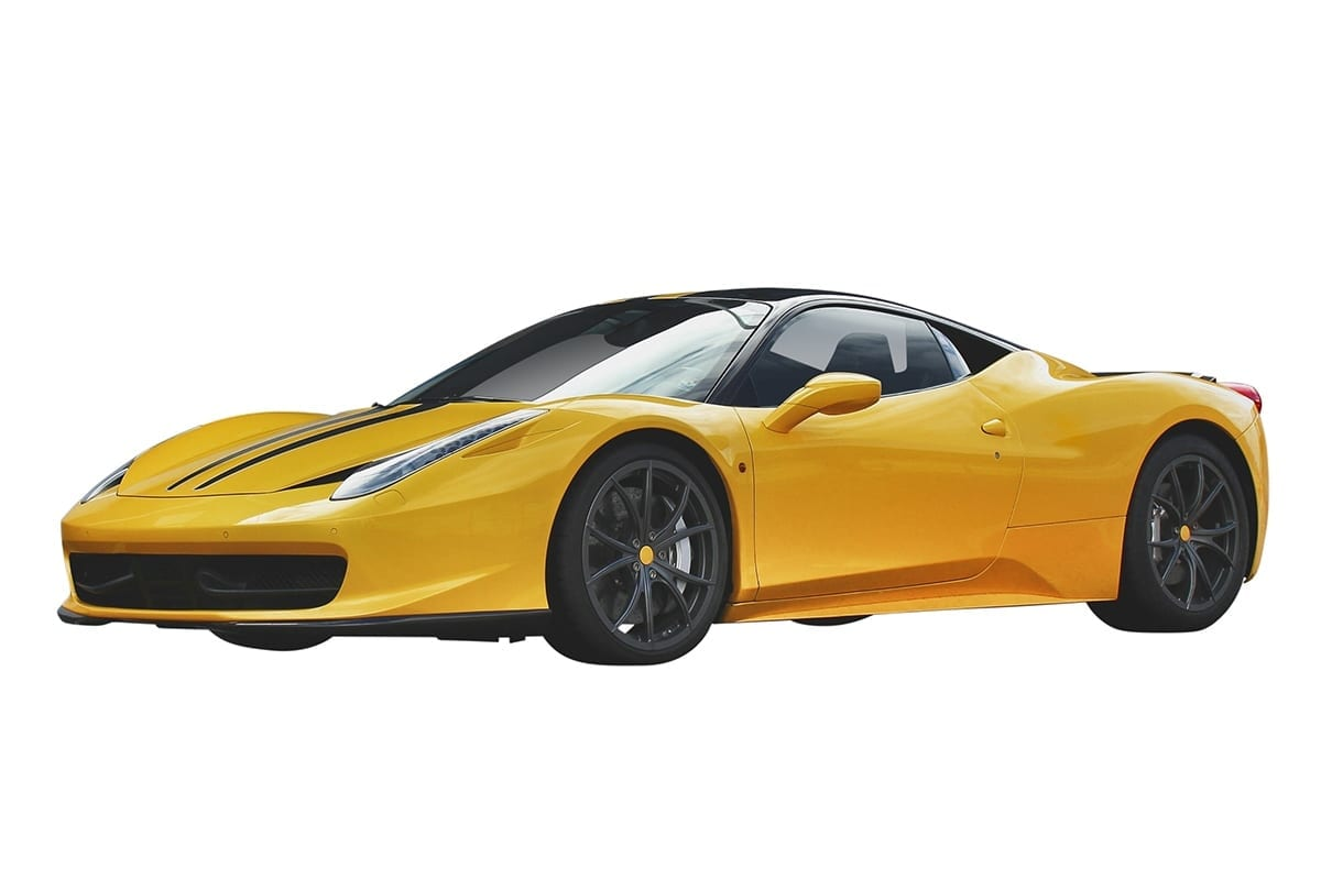 Yellow Ferrari car on clean white background | after clipping path service