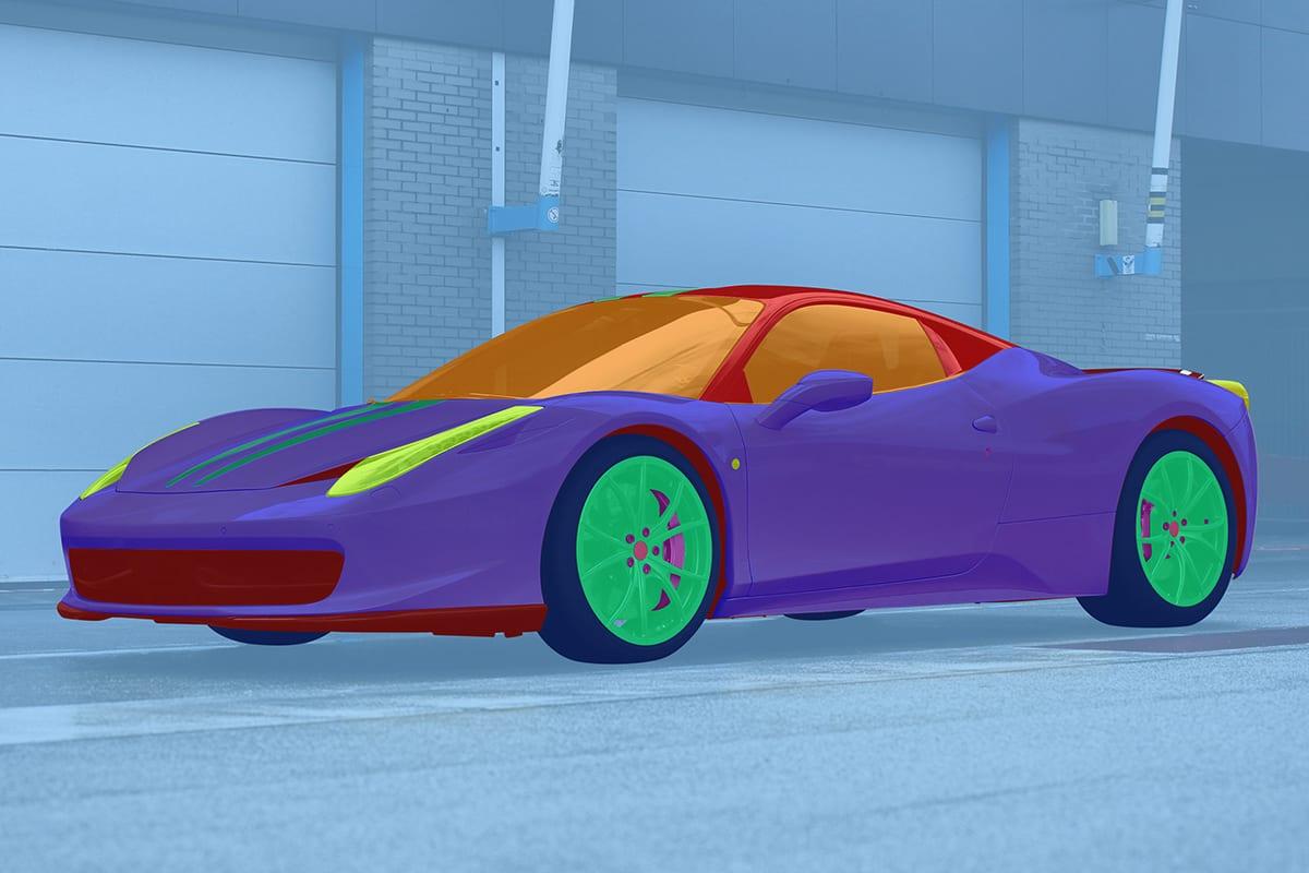 Ferrari vor einer Garage unterteilt in seine Einzelteile markiert mit verschiedenen Farben | nach Farbkorrekturmasken