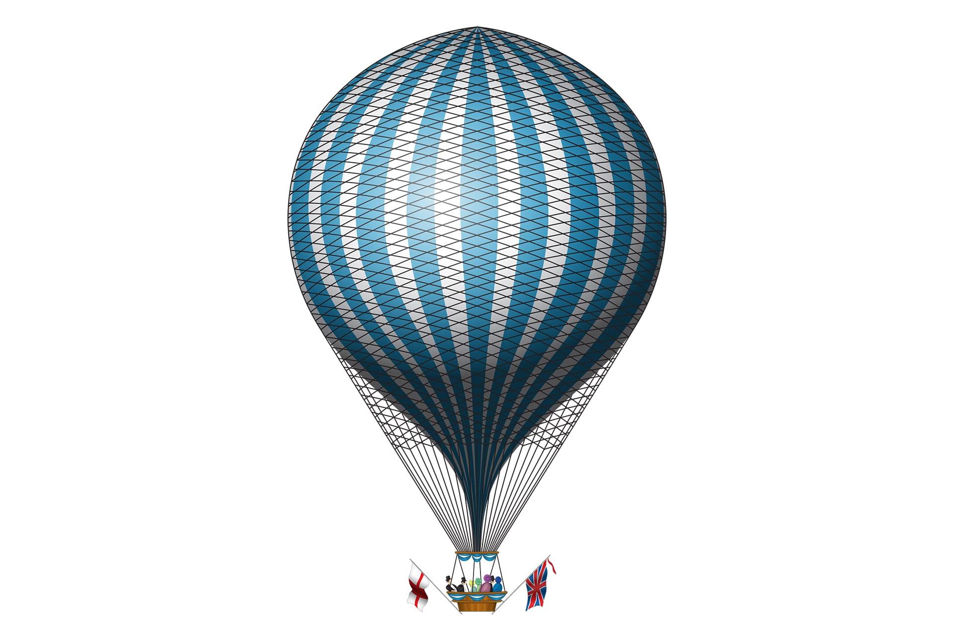 Vektorisiertes Bild eines Ballons in Blau und Weiß | Beispiel Vektorisierungen