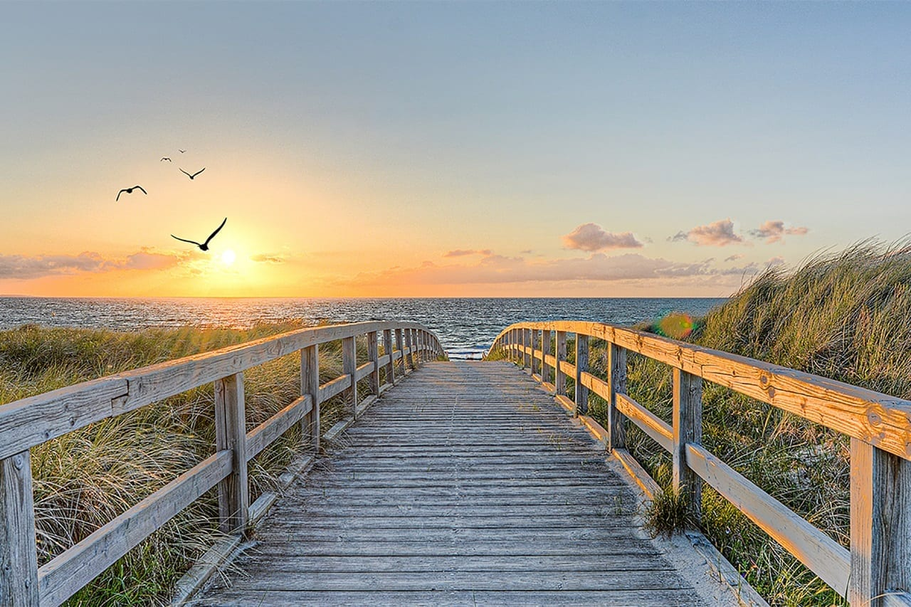 wooden bridge to the ocean sunset scene | before retouching