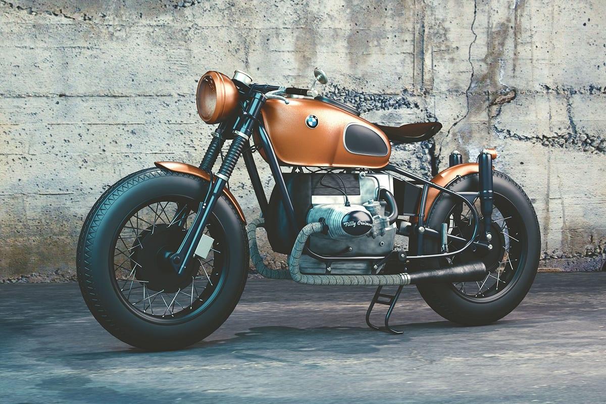 Altes BMW Motorrad von vor einer dreckigen Wand | Vektorisierungen