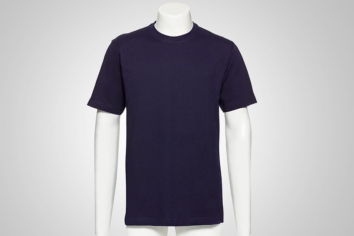 blue t-shirt on a puppet on a grey background   before hollowman removal