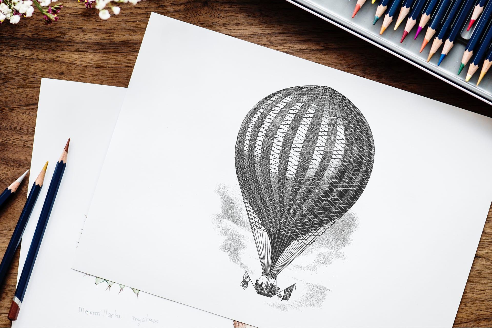 Strichzeichnung eines Ballons auf Papier | Vektorisierungen