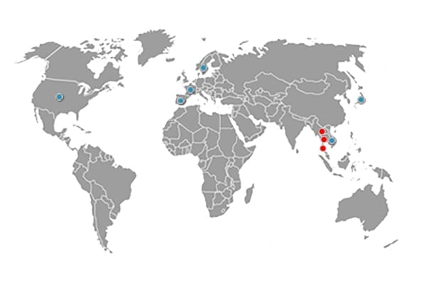 World map shows Group D.M.T. Locations