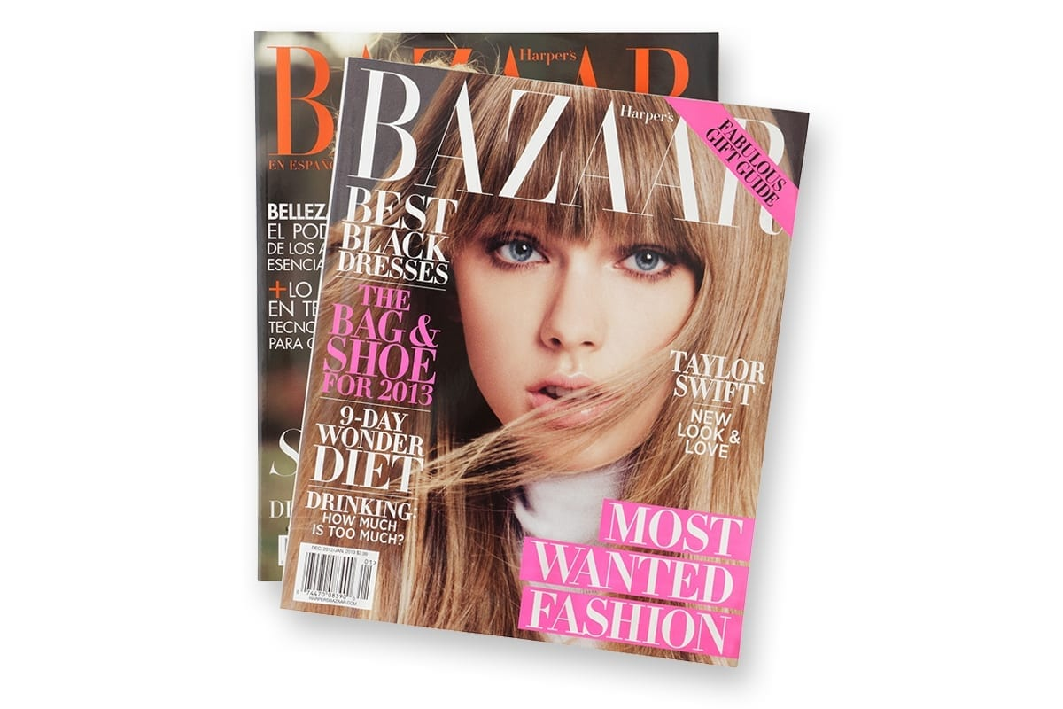 2 Bazaar magazines on a clean white background | sample catalog & magazine production