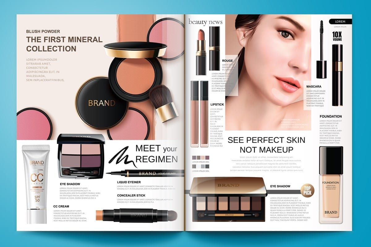 open beauty magazin with many cosmetic and beauty article in it | catalog & magazine production | full page composition