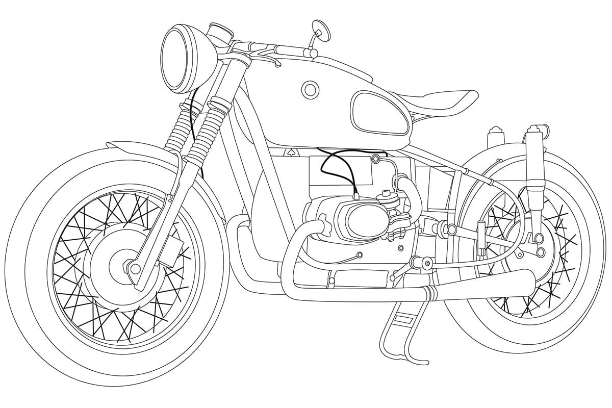 old bmw motorcycle as vector graphic