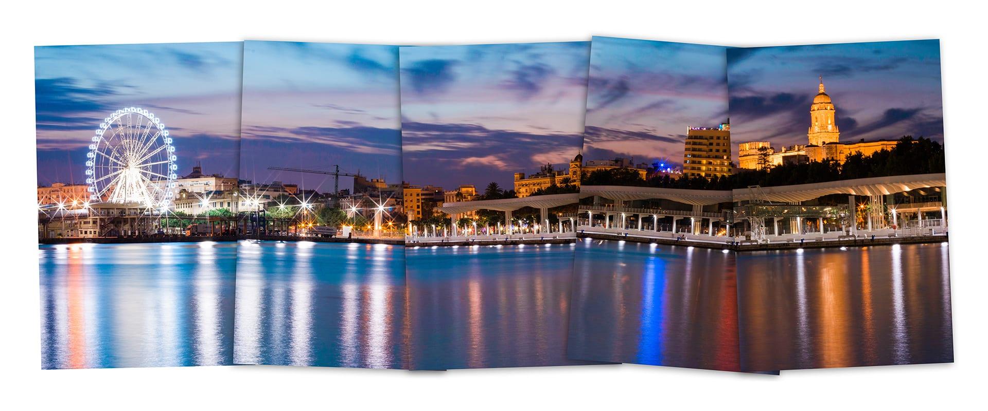 Einzelbilder einer Stadt bei Nacht an einem Fluss