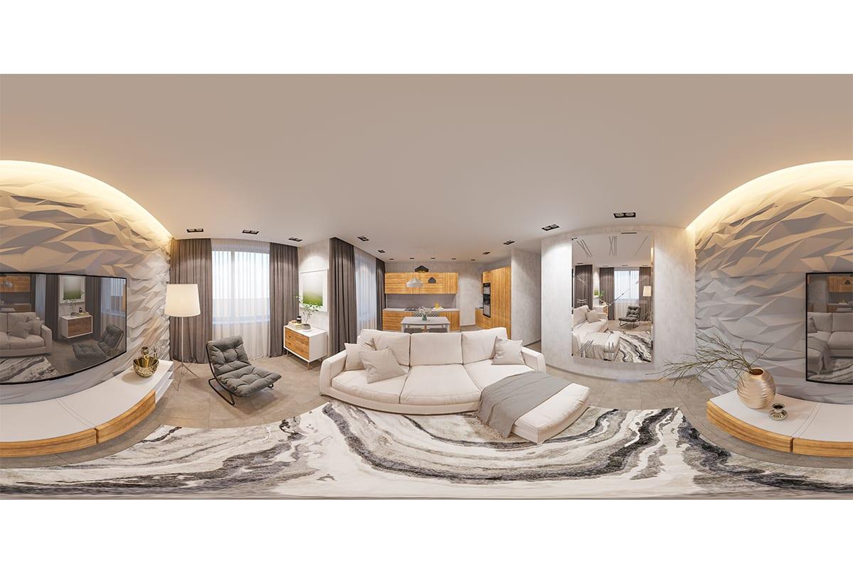360 Grad Panorama Bild eines Hotelzimmer